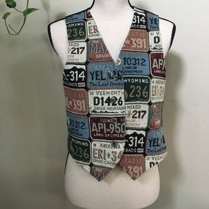 90s Vintage License Plate Tapestry Vest - Small